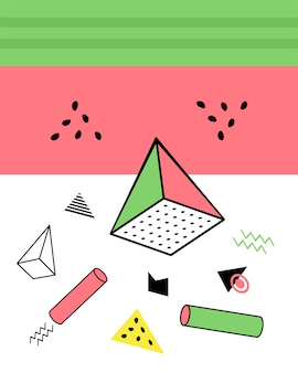 Geometrische elemente in der memphis-art, buntes geometrisches chaos