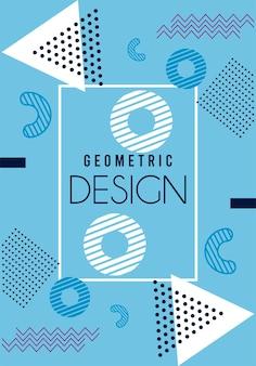 Geometrische entwurfsbeschriftung im blauen und weißen memphis-hintergrund