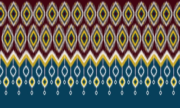 Geometrische ethnische orientalische ikat-muster traditionelles design für hintergrund, teppich, tapete, kleidung, verpackung, batik, stoff, vektorillustration. stickerei-stil. Premium Vektoren
