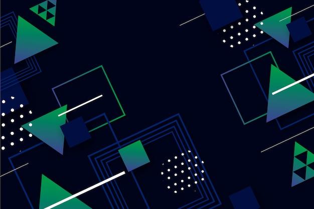 Geometrische farbverlaufsmodelle auf dunklem hintergrund