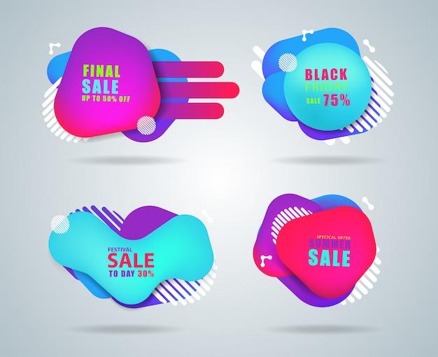Geometrische flüssige form mit verschiedenen farben, mehrfarbige blasen und fließende formen
