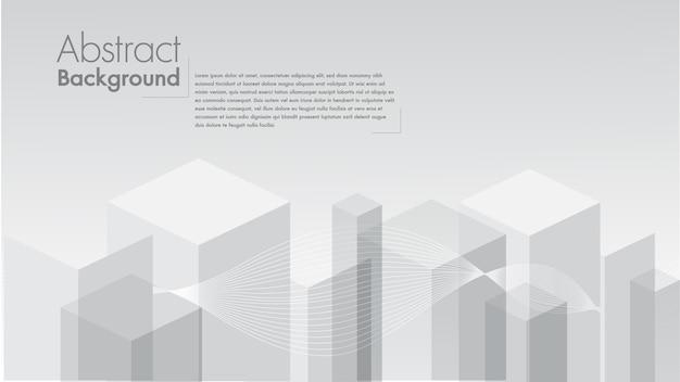 Geometrische form des abstrakten weißen hintergrundes von den grauen würfeln.