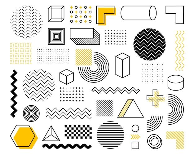 Geometrische form im vintage-stil. grelle farbe. schwarzer abstrakter geometrischer formensatz