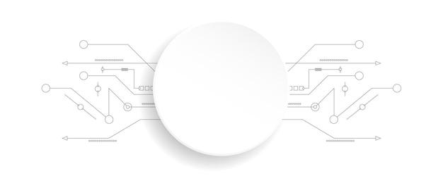 Geometrische form kugel weißer hintergrund dekorative technologie linie hintergrund horizontale vorlage für web-banner-werbeprodukte.