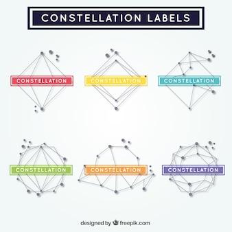 Geometrische formen etiketten von konstellationen
