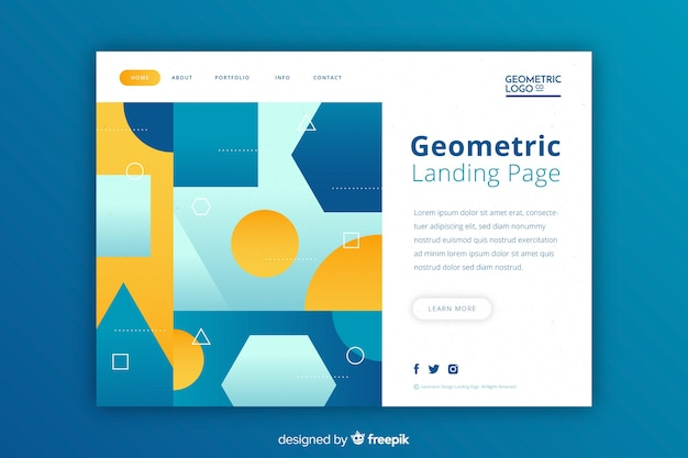 Geometrische formen mit landingpage in kontrastfarben