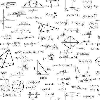 Geometrische formen mit nahtlosem muster der mathematischen formeln. handgeschriebene algebraische berechnungen auf weißer trigonometrischer oberfläche mit grundlegendem theorem der berechnungsausbildungszeichnungen. vektorwissen.