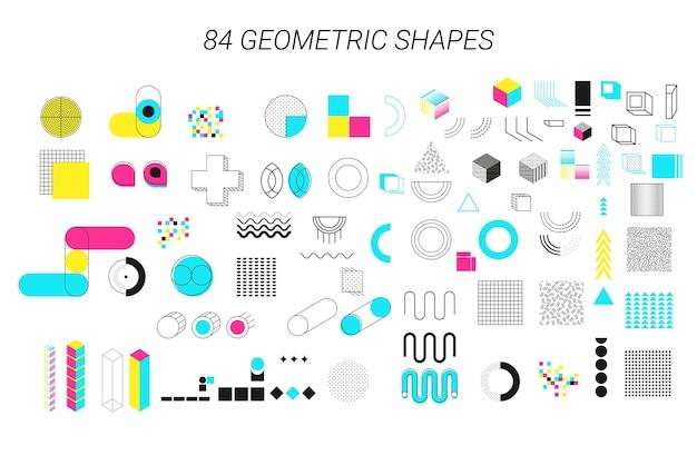 Geometrische formen neo memphis geometrische elemente mit zick-zack-kringeln unregelmäßige bilder