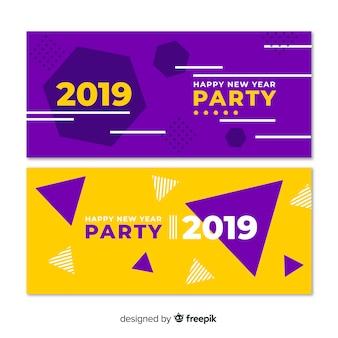 Geometrische formen party banner des neuen jahres