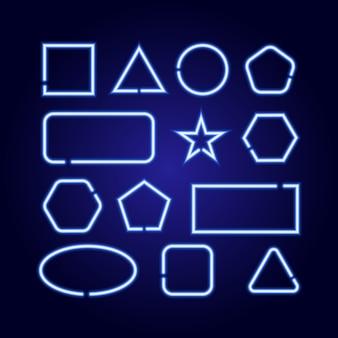 Geometrische formen setzen quadrat, kreis, stern, dreieck, rechteck, sechseck, ellipse von leuchtend blauen neonlumineszenzlinien auf klassischem blauem dunklem hintergrund.