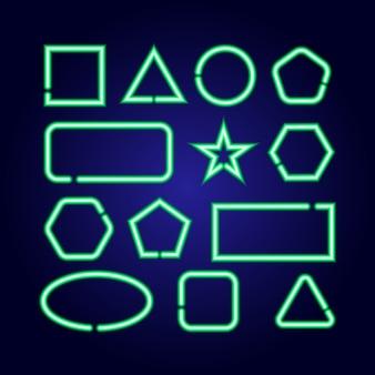Geometrische formen setzen quadrat, kreis, stern, dreieck, rechteck, sechseck, ellipse von leuchtend grünen neonlumineszenzlinien auf klassischem blauem dunklem hintergrund.