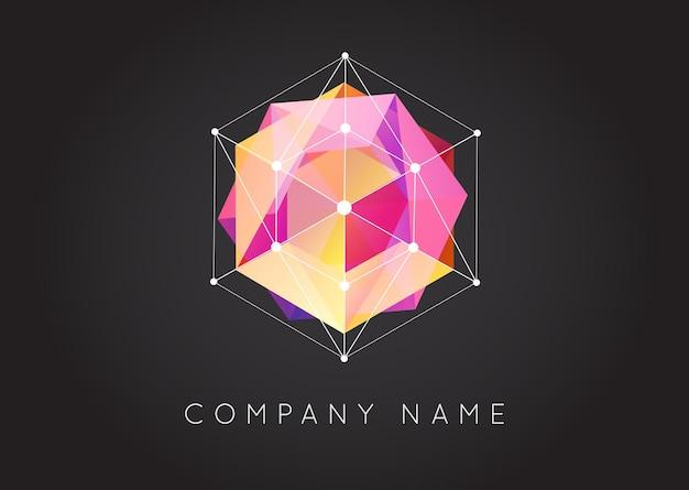 Geometrische formen ungewöhnliches und abstraktes vektorlogo. polygonale bunte logos.
