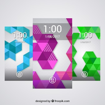 Geometrische formen wallpaper pack von farben für handy