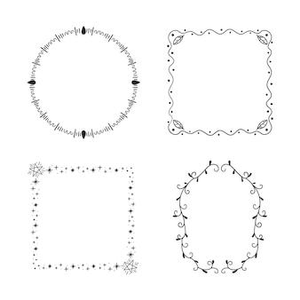 Geometrische gekritzelrahmensammlung hand gezeichnet