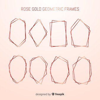 Geometrische goldene rosafarbene rahmensammlung