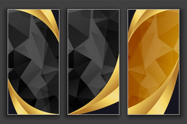 Geometrische goldene und schwarze luxusfahnen eingestellt