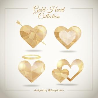 Geometrische goldenen herzen