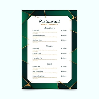 Geometrische grüne restaurantvorlage mit farbverlauf