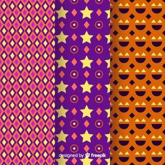 Geometrische halloween-mustersammlung
