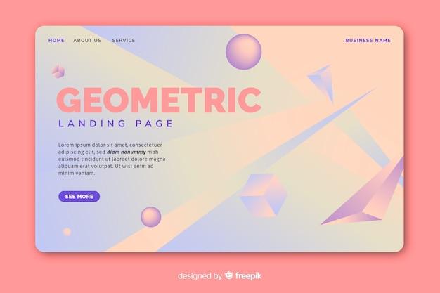 Geometrische hellfarbige landungsseite 3d
