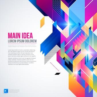 Geometrische hintergrund mit hellen farben und abstrakten stil