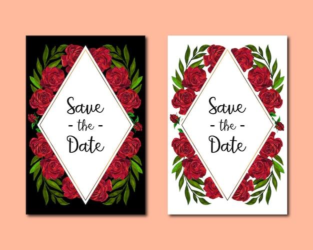 Geometrische hochzeitseinladungskarte mit roten rosen