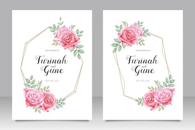 Geometrische hochzeitskartenschablone mit schönen rosenblumen