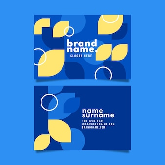Geometrische horizontale doppelseitige visitenkartenvorlage