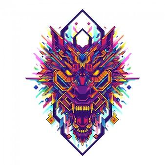 Geometrische illustration der wolfskopf-pop-art