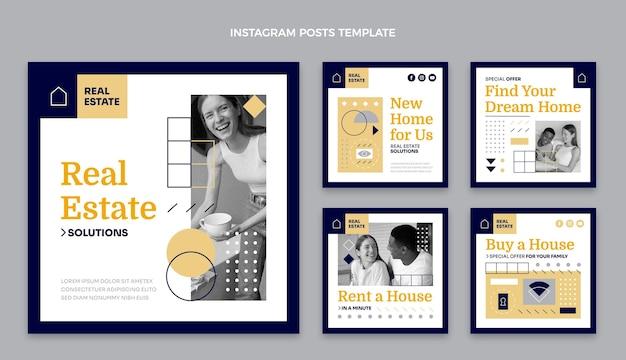 Geometrische immobilien-instagram-beiträge des flachen designs