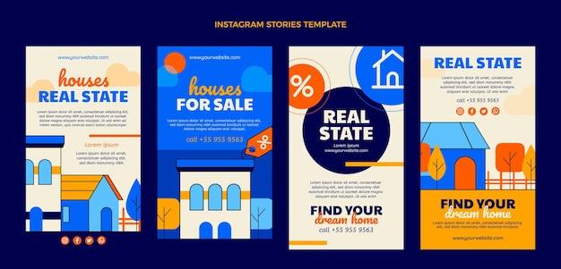 Geometrische immobilien-instagram-geschichten mit flachem design