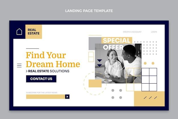 Geometrische immobilien-landingpage im flachen design