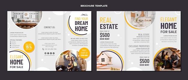 Geometrische immobilienbroschüre im flachen design