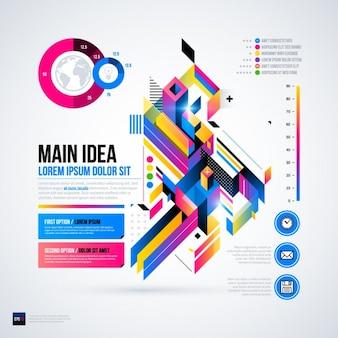 Geometrische infografik mit ein diagramm, blau und magenta