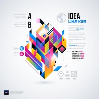Geometrische infografik mit nützlichen optionen