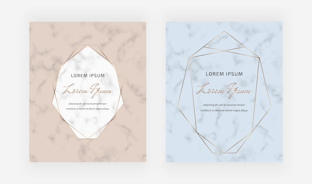 Geometrische karten aus nacktem und blauem marmor mit goldenen rahmen aus polygonalen linien.