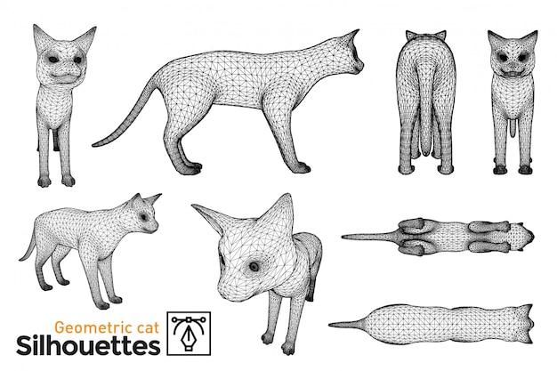 Geometrische katzensilhouetten. verschiedene ansichten für ihre designs.