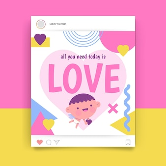Geometrische kindliche valentinstag instagram post