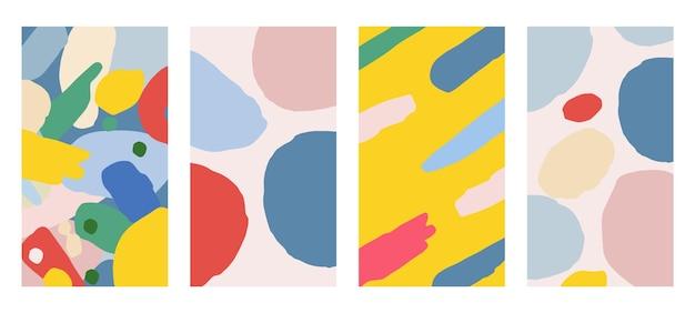 Geometrische kreise einladungen und kartenvorlagendesign. abstrakter freihändiger vektorsatz mit bunten hintergründen für banner, poster, cover-design-vorlagen