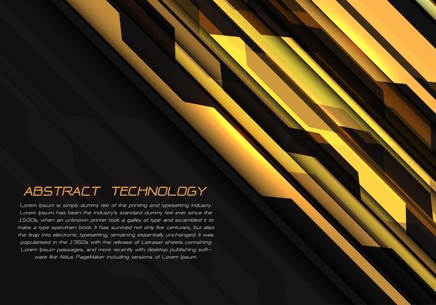Geometrische lichtenergie des gelben stromkreises auf schwarzem futuristischem hintergrund.