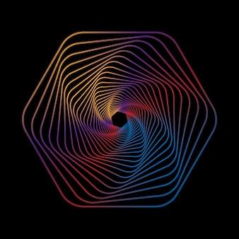 Geometrische linie kunst auf schwarzem hintergrund