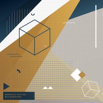Geometrische memphis hintergrund mit abstrakten formen