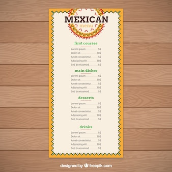 Geometrische mexikanische lebensmittel menü