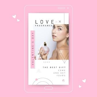 Geometrische minimalistische valentinstag social media post story