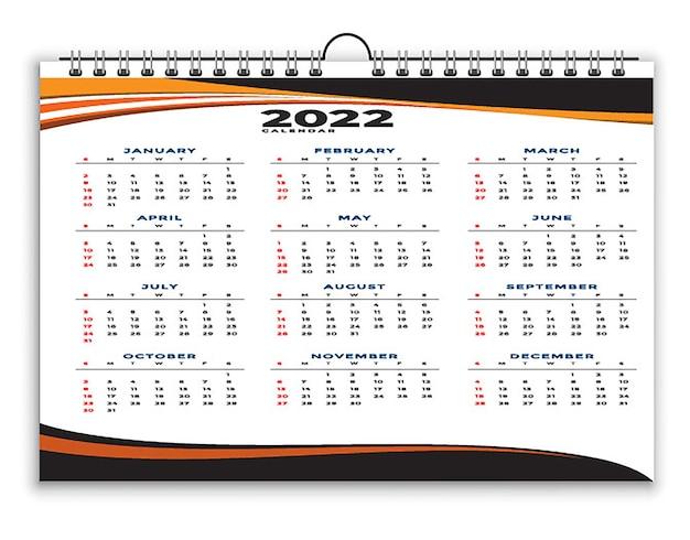 Geometrische moderne professionelle 2022 kalender schwarz gelb designvorlage