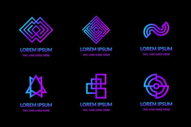 Geometrische monoline-logokonzeption einfach moderne steigungsfarbe