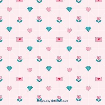 Geometrische muster mit schönen elemente bereit für den valentinstag