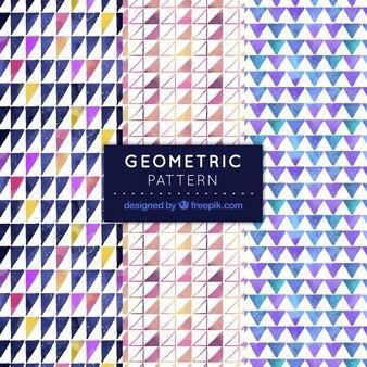 Geometrische muster von aquarell-dreiecken packen