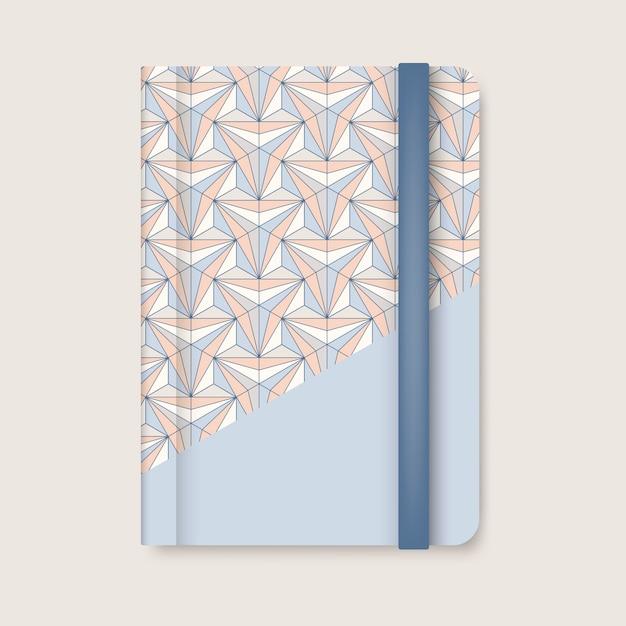Geometrische musterpastellabdeckung eines blauen tagebuchvektors