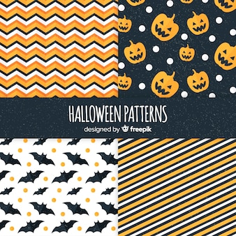 Geometrische mustersammlung halloweens im flachen design